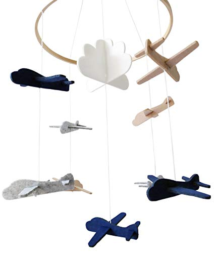 Sorrel and Fern Baby Crib Mobile Airplanes and Cloud Nursery Grey and White Decoration for Boys