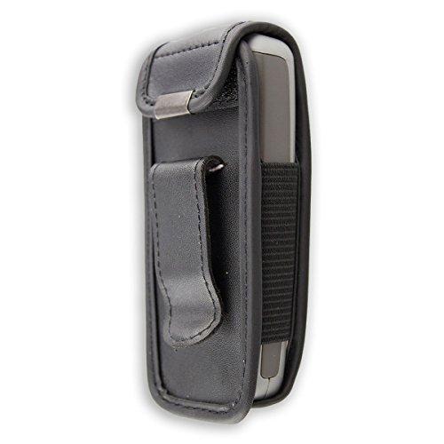 caseroxx Ledertasche mit Gürtelclip für Nokia 1600 aus Echtleder, Handyhülle für Gürtel (mit Sichtfenster aus schmutzabweisender Klarsichtfolie in schwarz)