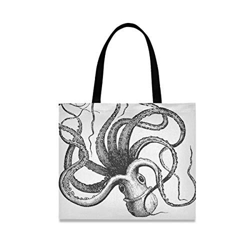 Bolsa de lona de pulpo común para mujer, grande, reutilizable con bolsillo interior, bolsa de compras, para gimnasio, playa, viajes al aire libre