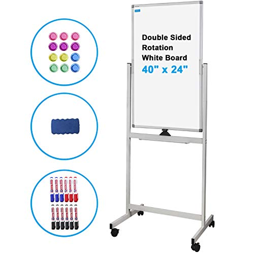 Magnetic White Board Mobile Rolling Whiteboard 40 x 24 inch Double Sided Writing Easel-Style Dry Erase Board on Wheels