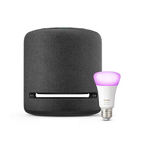 Echo Studio + Philips Hue White & Color ampoule LED connectée (E27), compatible avec Bluetooth et Zigbee (aucun hub requis)