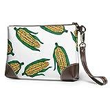 Ahdyr Bolso de mano de cuero suave impermeable bolso de mano de cuero cosecha de maíz maduro niñas bolso de mano con cremallera para mujeres niñas