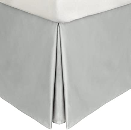 22 Inch Fall Bed Skirt 100% Egyptian Cotton 400 TC Solid Pattern All Sizes & Colors (TWIN XL,  Silver Grey )