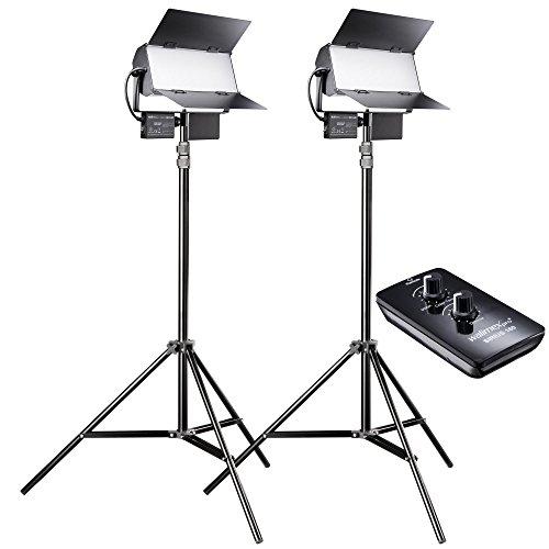 Walimex pro LED Sirius 160 Daylight 2er Set mit Stativ + Fernbedienung - 2x 65W Daylight Flächenleuchte, Studioleuchte, 2x 65 Watt 6000 Lumen, 5600K, dimmbar, mit Fernbedienung, für Foto + Video