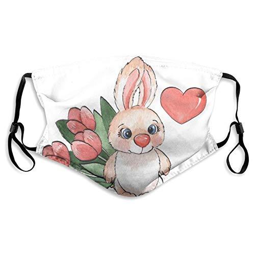 Protector de boca y nariz de tela, lindo conejo esponjoso con corazón y tulipanes con tema de amor de felicidad, bandana reutilizable para media cara, funda protectora lavable, longitud ajustable (S)