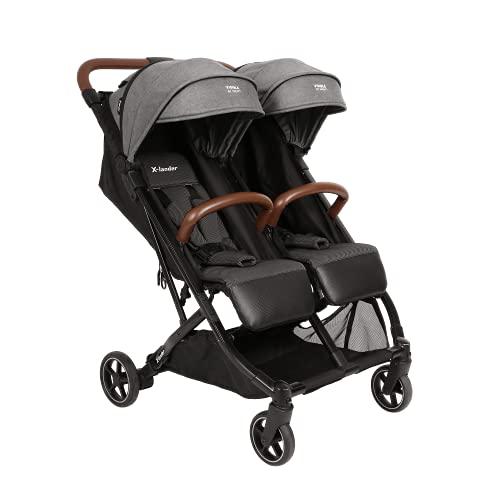 X-lander X-Double Twin silla de paseo gemelar El cochecito doble más ligero y pequeño del mercado: solo pesa 11,9 kg