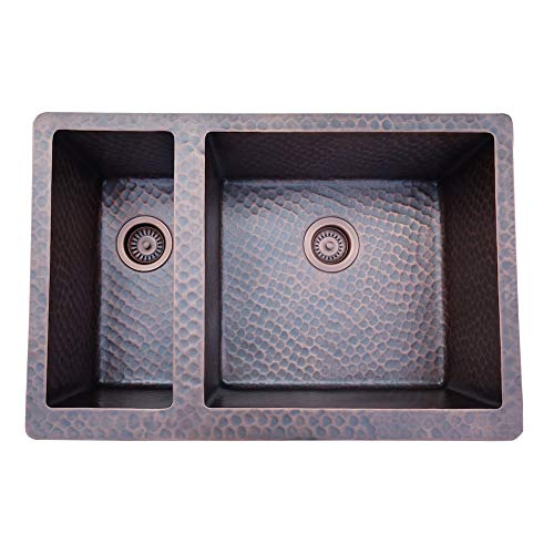 Lowest Prices! Copper Tailor Copper Undermount Kitchen Sink,37-Inch,30/70 Double Bowl,16 Gauge Thick