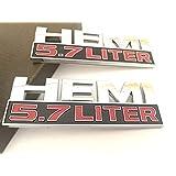 【TERA】【2枚セット】 HEMI 5.7 LITER 3D エンブレム ステッカー デカール バッジ ダッジ チャージャー ラム 1500 チャレンジャー ジープ グランド (シルバー)