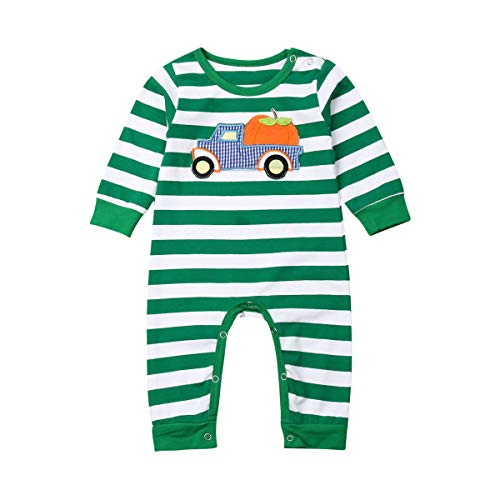 Baby Girls Boys Halloween/Christmas Outfits Stripe Pumpkin/Santa Romper Bodysuit Jumpsuit Pajamas Clothing Set 0-18M (3-6M, Halloween-Green)