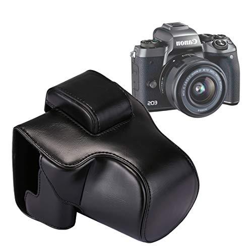 Camera Bag BZN PU Case Pleine BOÎTIER Sac en Cuir avec Sangle for Canon EOS M5 (Noir) (café) (Brown) (Couleur : Black)