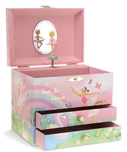 Jewelkeeper - Caja de Música para Joyas, Diseño Bailarina y Arcoíris, con 2 Cajone Extraíbles - Melodía del Lago de los Cisnes