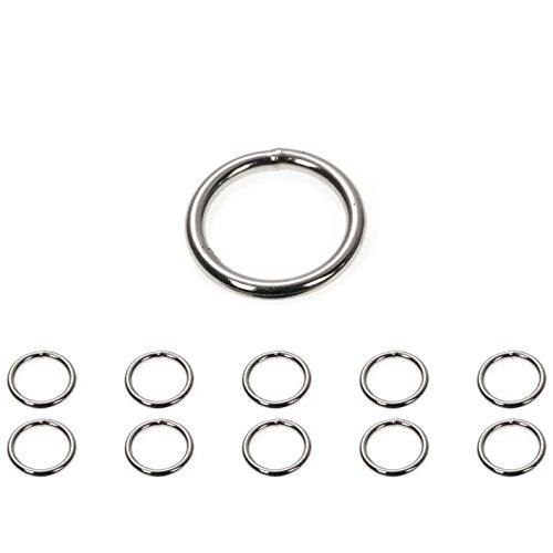 Ganzoo O - Ring Stahl, 10 Stück, 28mm außen, geschweißt Nicht-rostend, für Paracord 550