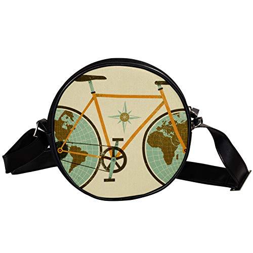 Bandolera redonda pequeña bolso de mano para mujer, bolso de hombro de moda, bolso de mensajero de lona, bolsa de cintura, accesorios para mujer, divertido mapa del mundo retro con bicicleta