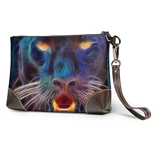 GLGFashion Sac à main en cuir pour femme Panther Animal Fashion Abstract Black Travel Makeup Bags Cosmetic Case Organizer for Women