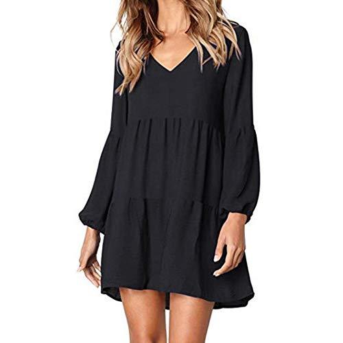 MOIKA Kleider Damen Langarm Herbst V-Ausschnitt Drapiert Knielangen Kleid, Elegant Einfarbig Casual Laternehülse Blusenkleid Kleider