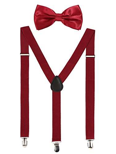 Suspender Bow Tie Set Clip On Y Shape Adjustable Braces, 80s Costume Suspenders Shoulder Straps for Halloween Cosplay Party (Wine-colored)