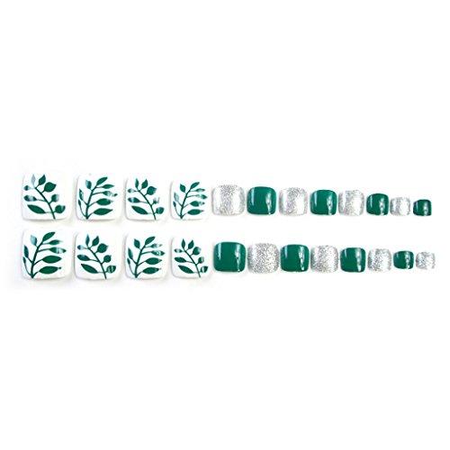 JIACUO 24 Pcs Mode Faux Faux Ongles D'orteils Artificiels Conseils Orteil Nail Art Outils De Vacances