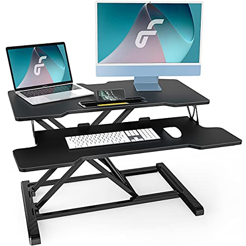 Fenge スタンディングデスク 高さ調整可 昇降式デスク オフィスワークテーブル キーボード付き 机上デスク ...