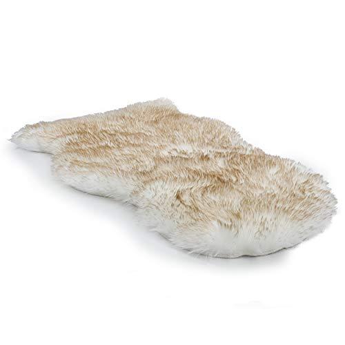 Spirella lamsvel schapenvacht tapijt 60 x 90 cm lamsvachttapijt Longhair vacht optiek gezellige schapenvacht bedmat bank mat (wit)