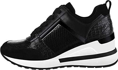 Yolanda Zula Women's Wedge Sneakers High Heel Fashion Lightweight Walking Shoes Black, 7.5