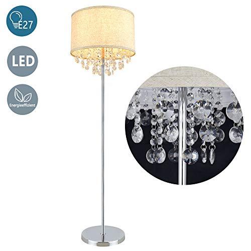 Depuley E27 Stehleuchte Warmweiß, Modern Led Stehlampe G9 Kristall mit Fußschlter, 720lm, 3000K, 110-240V, 9W Birne für Dekoration, Schlafzimmer, Esszimmer, Wohnzimmer, Büro