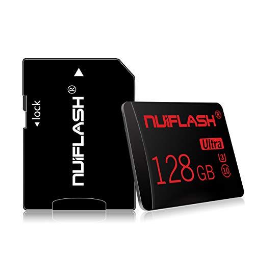 nuiflash 128GB Micro Speicherkarte mit Adapter (Schnelle Geschwindigkeit Klasse 10) TF Memory Karte für Kamera, Microsd SD Speicherkarte Card füR Kamera, Handy, Tablet, Spielkonsole, Dashcam