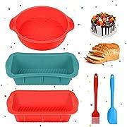 Silikon Backform und Kastenform Antihaftende kuchenform Brotbackform, 5Pcs Backform Set für Schichtkuchen, Käsekuchen, Toast, Regenbogenkuchen und Chiffonkuchen ausgestattet mit Pinsel