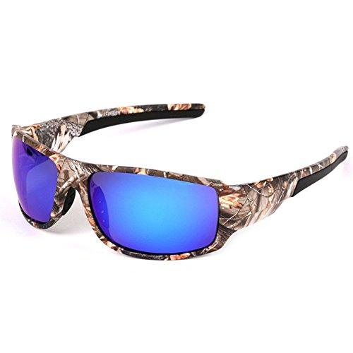 Polaroid Pesca Gafas de sol para hombres gafas de montura con camuflaje deportes al aire libre Caza canotaje gafas de sol, Unisex, Lenses colour:Polarized blue film