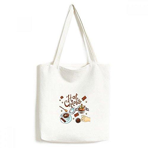 DIYthinker los postres de Chocolate Bebida Caliente ambientalmente Lavable Asas de Las Compras Bolsa de Mano Artesanal de Regalo Francia 33 * 40cm