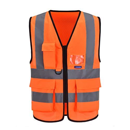 Mehrere Taschen,Mehrere farben, Unisex hochsichtbare Warnweste Hohe Sichtbarkeit Warnweste Reflektierende Weste Reißverschluss Sicherheitswesten EN ISO 20471 (L, Orange)