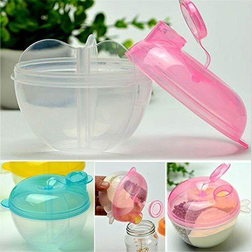 dosificador leche en polvo bebe 3-rejillas dispensador leche en polvo bebe sin bpa Caja de alimentación (azul)