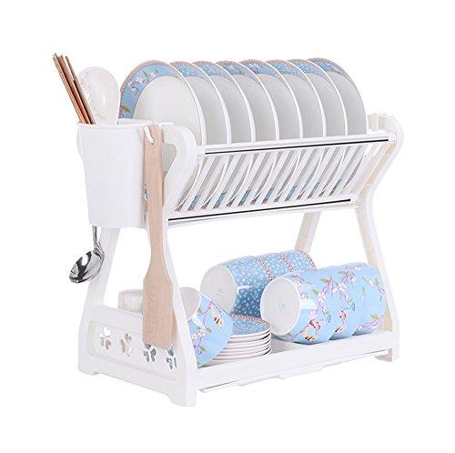 Support de cuisine/Support à vaisselle/Support à égouttoir/Support à couverts (2 couches) Blanc