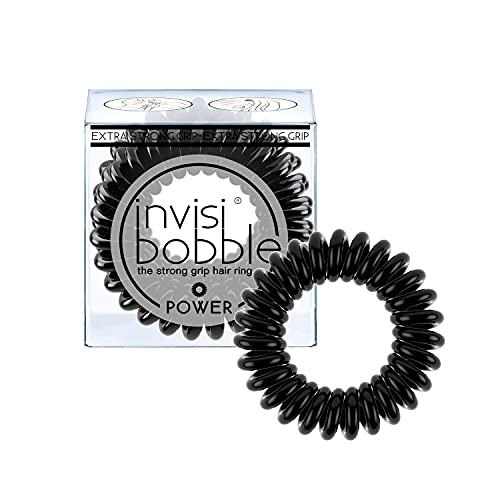 invisibobble Power Traceless Spiral Hair Ties - Pack of 3 True Black -...