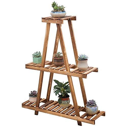XLYYHZ Soporte para flores de madera maciza para jardín de varias capas, marco de bonsái, anticorrosión, estante para exteriores o interiores