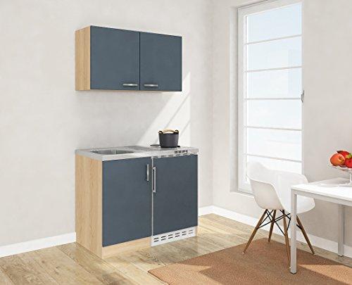 respekta–Mini Cocina Single Cocina 100cm, Incluye Armario Superior Roble sin Frontal Gris MK 100esgos