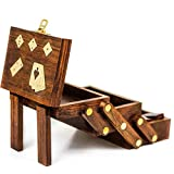 Nagina International Wood Crafted Multi Game Box   Cards   Domino   Dice   Wooden Case   Old School Gift Games