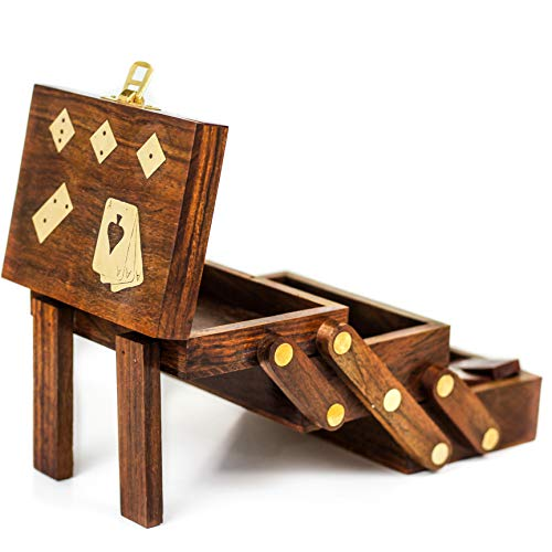 Nagina International Wood Crafted Multi Game Box | Cards | Domino | Dice | Wooden Case | Old School Gift Games