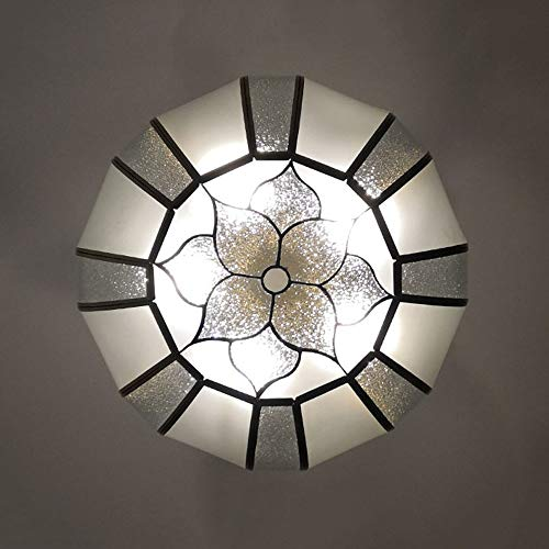 DKee Plafoniera Oro Saldatura Tin Copper Flower Lampada da Soffitto Vetro Light Round Chandelier Balcone Corridoio Portico Dining Soggiorno Studio Bedroom Luxury