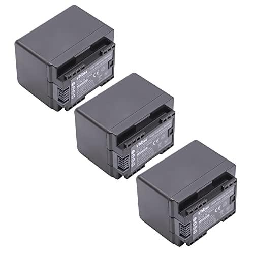 vhbw 3x Li-Ion batteria 2400mAh (3.6V) con infochip per telecamera videocamera camcorder Canon Legria HF R66, HF R68, HF R606 sostituisce BP-727