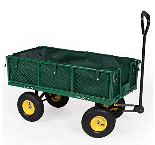 Frosal Gartenwagen Transportwagen Phil 350 KG Luftbereifung - Bollerwagen - Handwagen - herausnehmbare Innenplane