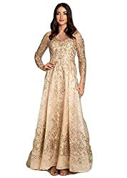 Gold Lara 29856 Long Sleeve Lace Ball Appliques and Stones Gown