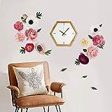 decalmile Pegatinas de Pared Flores Peonía Rosas Vinilos Decorativos Romántico Adhesivos Pared Habitación Niñas Dormitorio Salón