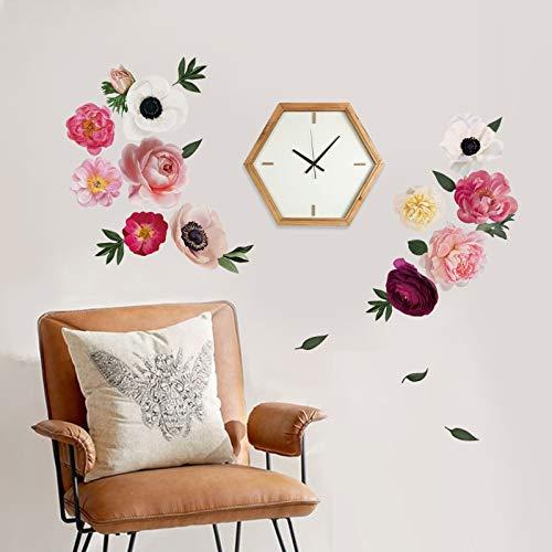 decalmile Pegatinas de Pared Flores Peonía Rosas Vinilos Decorativos Romántico Adhesivos Pared...