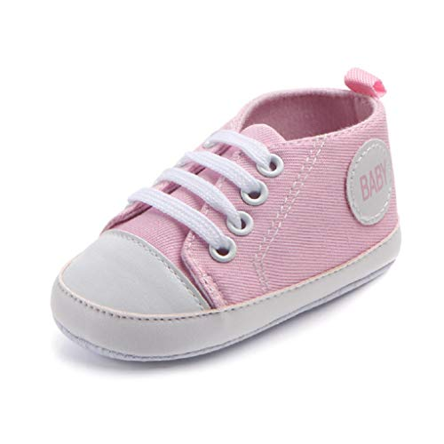 Babyschuhe Auxma Baby Schuhe Sneakers aus Leinwand mit weichen und rutschfesten Sohle Für 3-6 6-12 12-18 Monat (3-6 M, Rosa)
