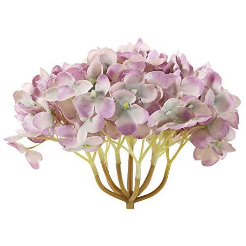 Omkuwl DIY 19cm Hortensien-Fertigkeit-künstliche Blumen-Köpfe Silk Blumenhochzeits-Dekoration lila