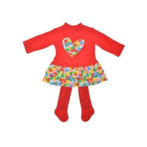Agatha Ruiz de la Prada - Vestido corazón Flores, Bebe niña, Color: Rojo (6 Meses)