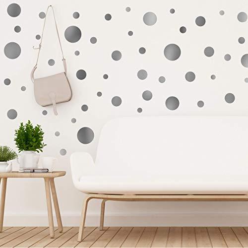 Walplus Plata Metálico Lunares adhesivo pared, vinilo, multicolor, 35 x 24 x 20cm