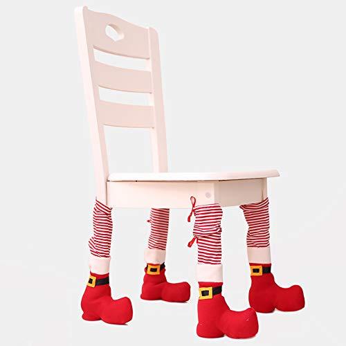 Funda protectora para patas de silla para Navidad, comedores, patas de taburete, decoración navideña, color rojo
