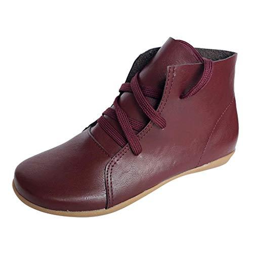 Luckycat 2019 Botas para Mujer, Soporte del Arco, Cómodos Botines de Deslizamiento Plano para Mujer, Zapatos Casuales para Mujer Otoño Invierno con Hebilla, Zapatos De Cordones De La Vendimia