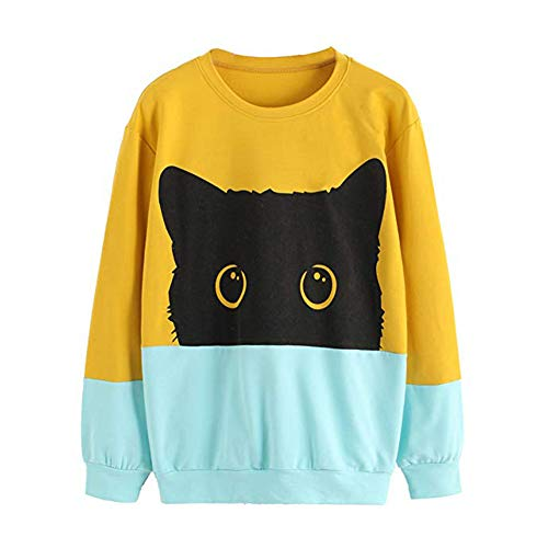 Tzzdwy Lovely Cat Prined Hoodie Vrouwen Lange mouwen Casual Sweatshirt O-hals Kleur Blok Pullover Tracksuit